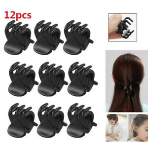 KE-12Pcs-Black-Mini-Plastic-Hairpin-Claws-Hair-Clips-Clamp-For-Women-Girls-Su