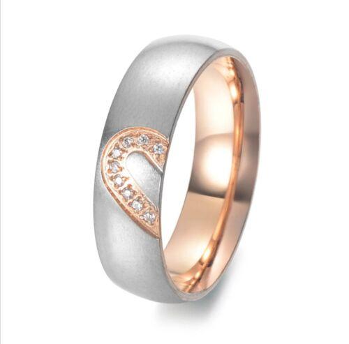 Ehering Verlobungsring Ring Partnerring mit Herz aus Edelstahl Hochzeit