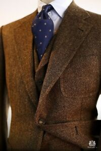 Men-039-s-Brown-Wool-Blend-Herringbon-Vintage-Tweed-Suit-Blazer-Retro-Tuxedo-Suit