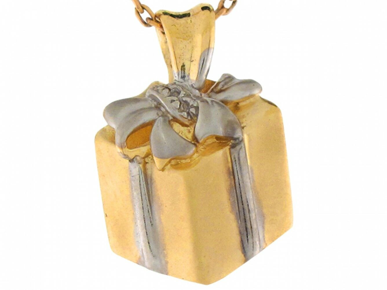 10k or 14k Real Two Tone gold Cute Gift Box Present 1.8cm Slide Charm Pendant