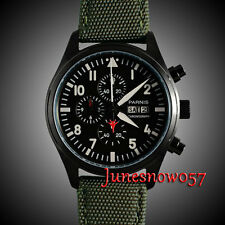 Parnis 42mm black dial PVD case stopwatch Full chronograph quartz mens watch 134