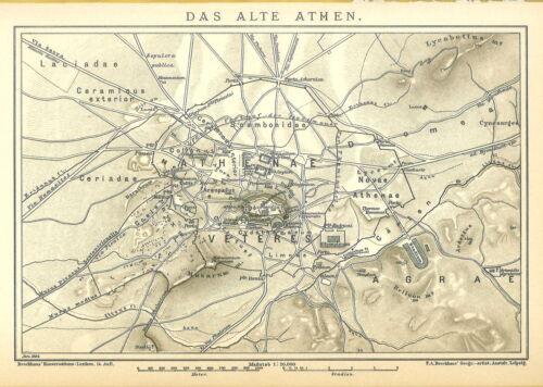 Historische B14RA alte Stadtkarte 1901:Das alte Athen Griechenland Stadtplan