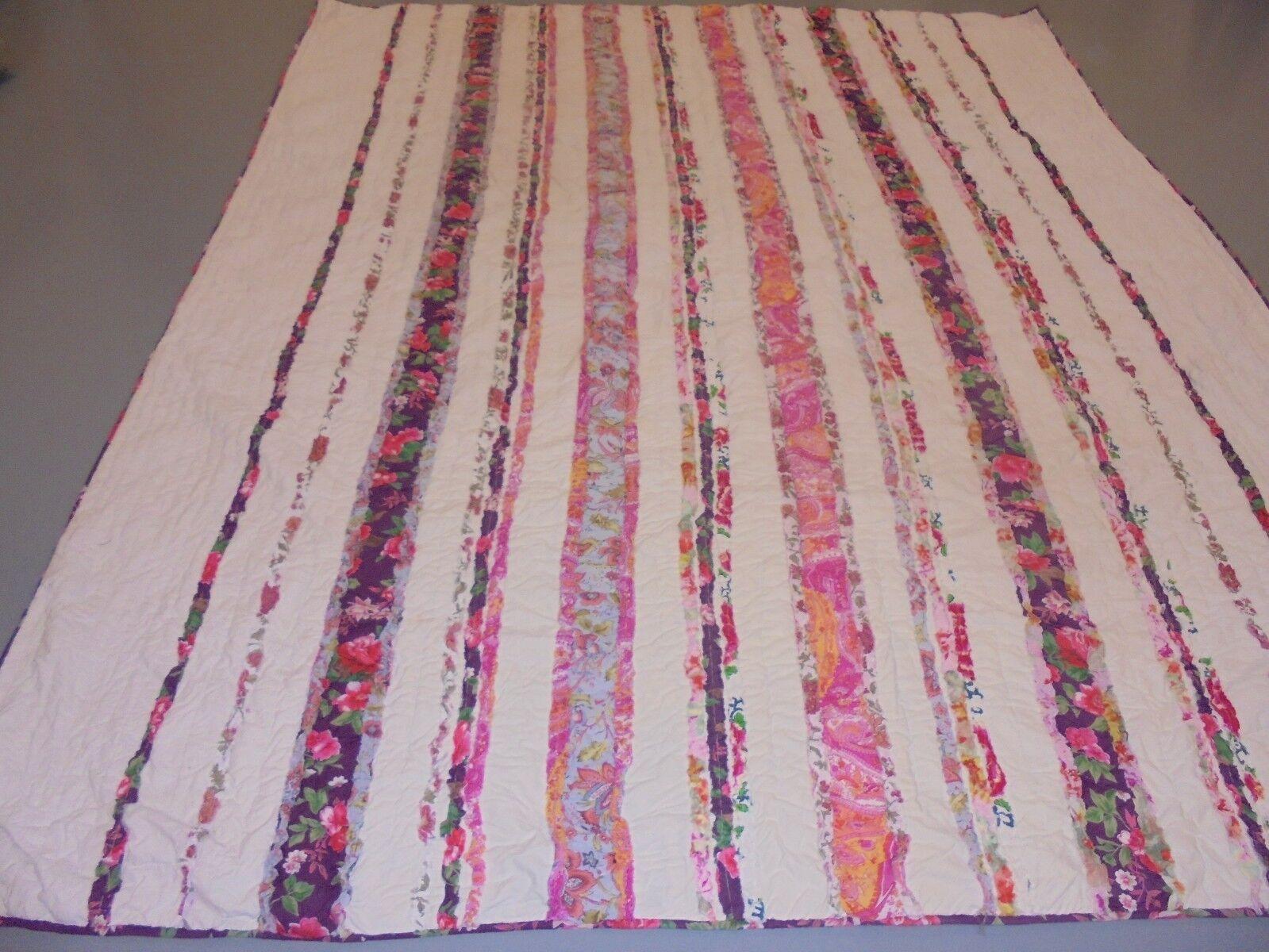 Nice Pieced Multi-ColGoldt Strips Quilt
