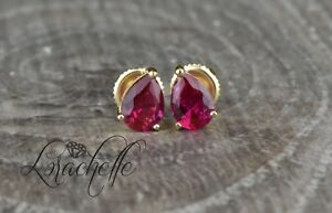 1-5-ct-Pear-Cut-Ruby-Screw-Back-Earring-Studs-14K-Yellow-Gold