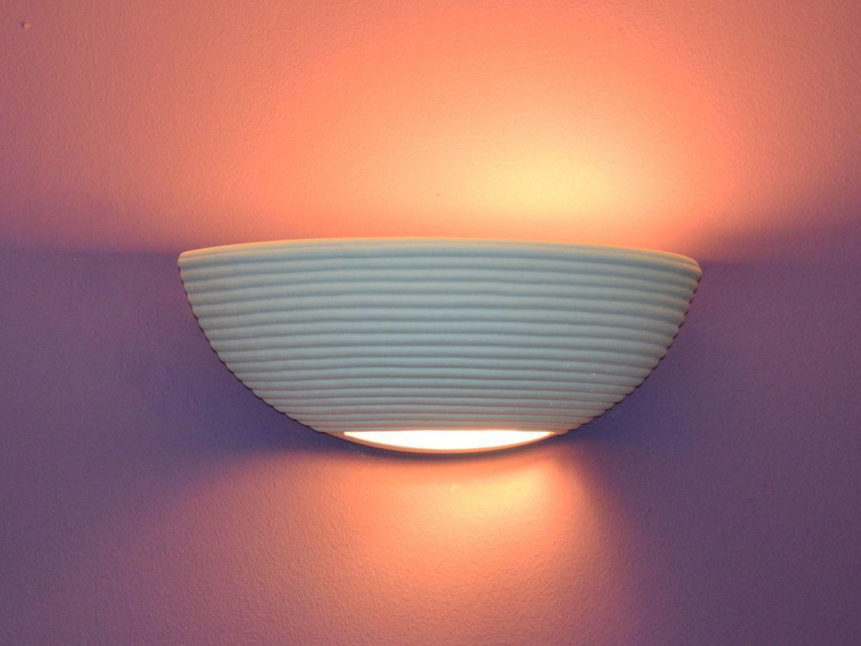 Elsa 1950 Wandlampe Wandleuchte Keramik Gips Weiß Set für LEDs Lampe Leuchte