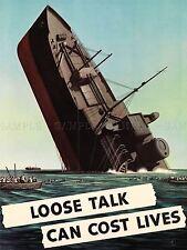 Guerra De Propaganda Segunda Guerra Mundial Usa Barco Fregadero hablar a la ligera impresión arte cartel Imagen lv7370