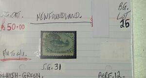 NEWFOUNDLAND-BLUISH-GREEN-2C-FISH-STAMP-F-U-TO-G-U