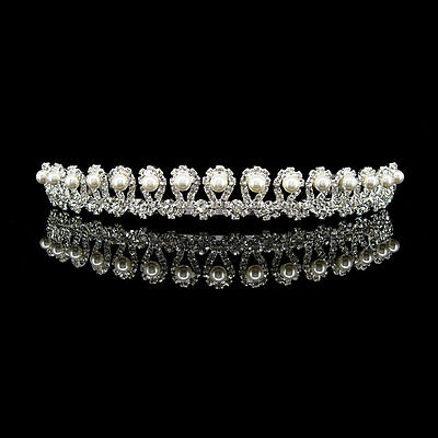 2cm High Wavy Pearl Wedding Bridal Bridesmaid Prom Party Crystal Tiara