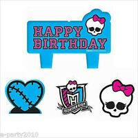 Monster High Mini Candle Set (4) Birthday Party Supplies Cake Decorations