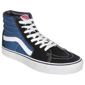 vans sk8 hi navy blue black white mens womens skate shoes
