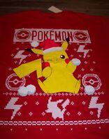 Nintendo Pokemon Pikachu Throwing Snowballs Christmas T-shirt Large W/ Tag