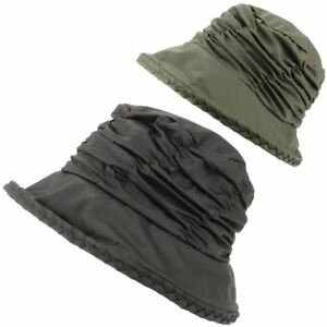 Hawkins Ladies Waxed Bucket Hat Plait detail Rim Brown or Olive  57 and 58cm