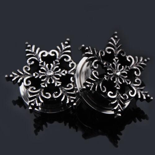 Pair Ear Plug Snowflake Ear Gauges Screw Back Flesh Tunnel Expanders