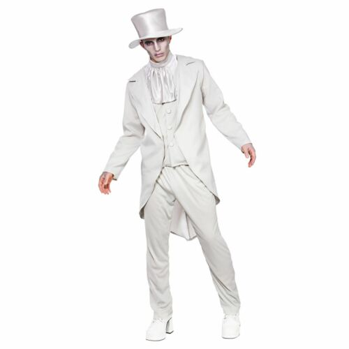 Adults Ghastly Ghost Groom Halloween Fancy Dress Up Party Costume Outfit New