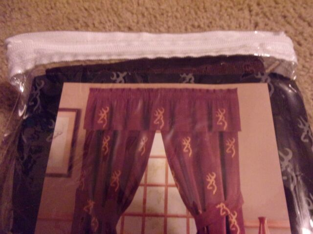 Browning Buckmark Burgundy Valance Only Window Topper 88 X 18 Cabin Lodge For Sale Online
