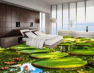 3D Lotus Pond Fish 40 Floor WallPaper Murals Wall Print 5D AJ WALLPAPER AU Lemon