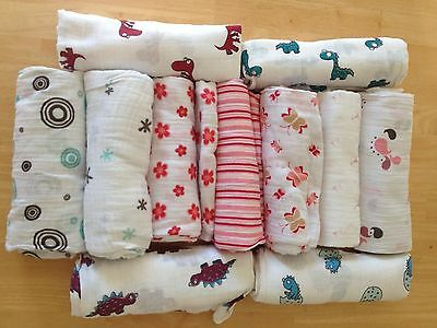 """NEW ADEN and ANAIS Muslin Cotton Boutique Swaddle Blanket 47/""""x 47/""""  You Pick"""