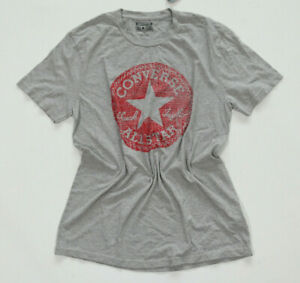 Details zu Neu All Star Converse T Shirt TShirt Herren Grau Chucks Logo rund rot