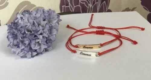 personalised name bracelet silver Or Gold Red Cord Handmade