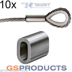 10x 8mm Aluminium Ferrules Steel Wire Rope Crimping Sleeve Clamp ...