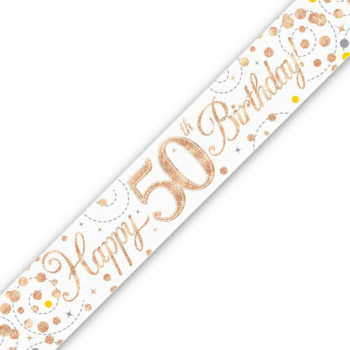 Happy Birthday Sparkling Fizz Banner Party Decoration Holographic Accessory