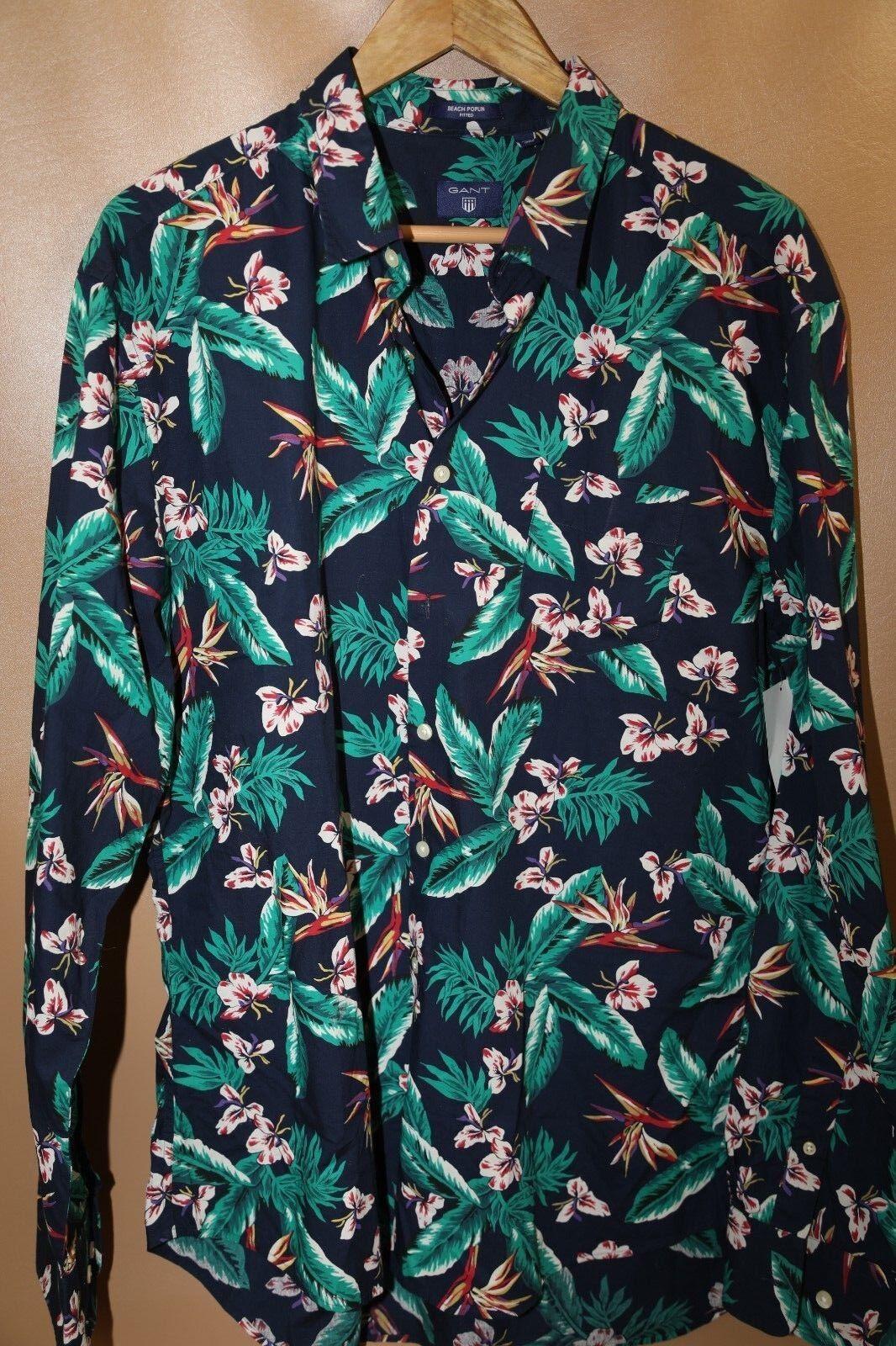 Gant Floral Sports Shirt Size XXL  Beach Poplin