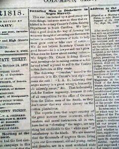 Rare-PRO-CONFEDERATE-Columbus-Ohio-w-Slavery-amp-Lincoln-Civil-War-1862-Newspaper
