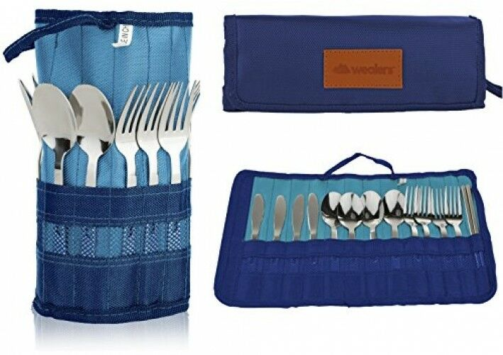 13 Piece  Stainless Steel Family Cutlery Picnic Utensil Set With Travel Case For  leisure