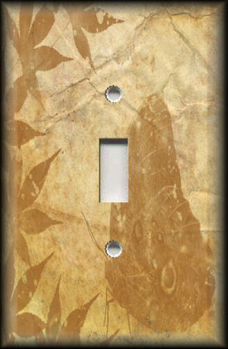 Leaves Butterfly Silhouette Decor Amber Gold Metal Light Switch Plate Cover