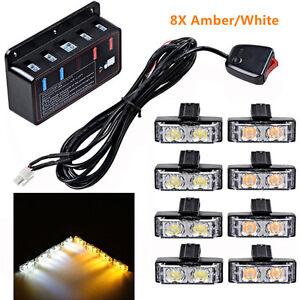 8X Amber+White  2LED Car Front Grille Strobe Bar Warning Hazard Emergency Light