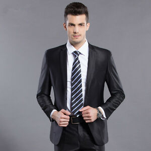 Shiny Black Mens Cashmere Blend One Button Slim Fit Wedding Suit ...