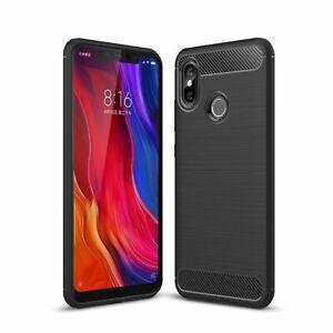 Xiaomi-Mi-8-TPU-Case-Carbon-Fiber-Look-Brushed-Case-Cover-Cases-Black