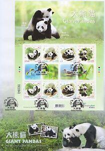 Hong Kong FDC 2008 Giant Panda stamp sheetlet Special PM HK151996
