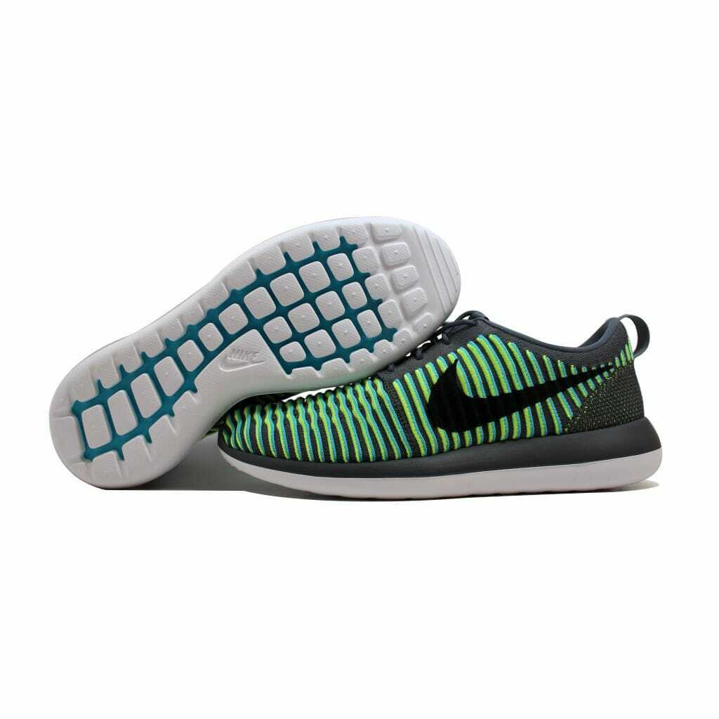 Nike Roshe Two Flyknit Dark Grey Black-Gamma bluee-Volt 844833-004 Men's Size 9