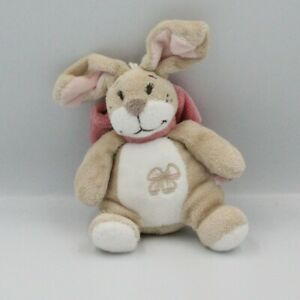 Doudou musical lapin beige blanc noeud rose Oscarine NOUKIE'S - Lapin Sonore/vib