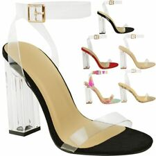 9435dfaf80d item 3 Womens Ladies High Heels Sandals Perspex Hologram Clear Block Heel  Party Shoes -Womens Ladies High Heels Sandals Perspex Hologram Clear Block  Heel ...