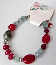 Faceted Chinese Ruby & Aquamarine Gemstone Beaded Bracelet