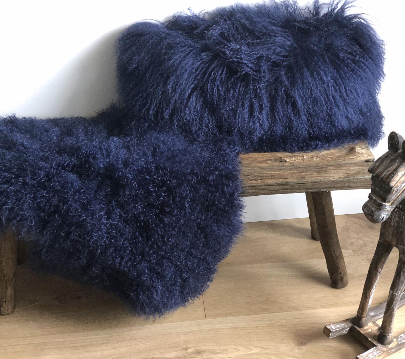 Luxus Tibet Lammfell echtes Schaffell dunkel blau Cornsilk super weich