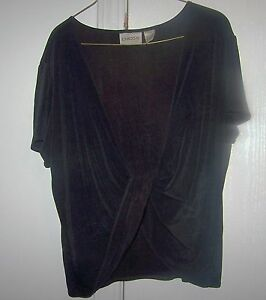 615e8a51631 Chico,s Travelers Black Short Sleeve Criss Cross Front Low Cut Over ...