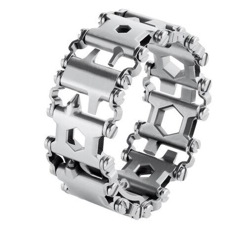 Multi-Tool Stainless Steel Tread Bracelet 29 Functions Travel Outdoor Tool