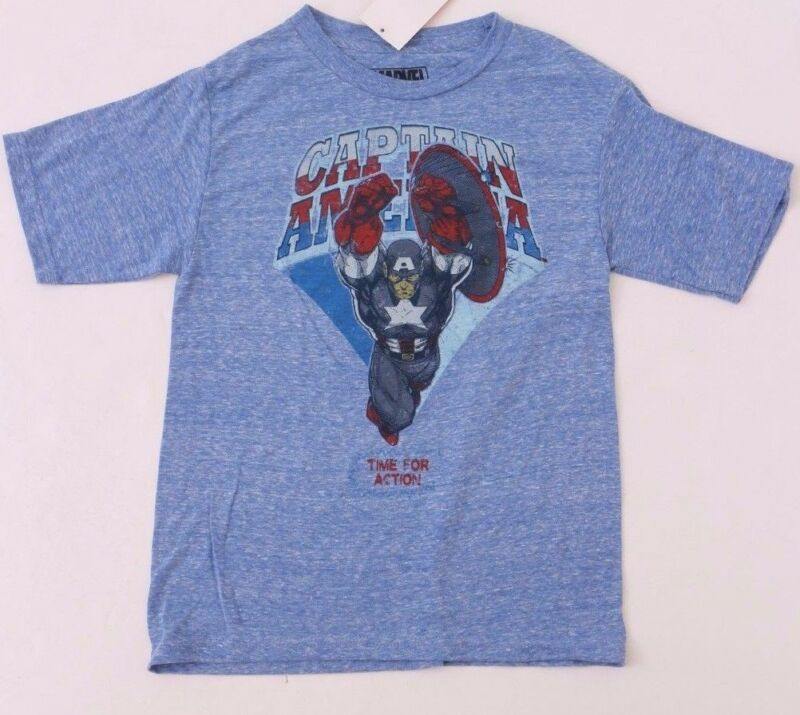 Marvel Captain America Time For Action! Kids Blue Liliac T-shirt Size Md Nwt