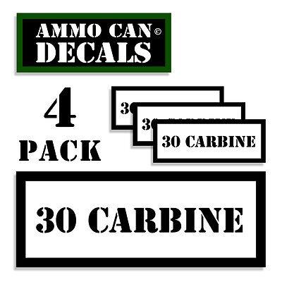 "30 CARBINE Ammo Label Decals Ammunition Case 3/"" x 1/"" Can sticker 4 PACK YWagRD"