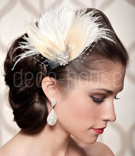 Peacock Feather Fascinator Hair Clip Wedding 20/'s Gatsby Party Vintage Headpiece