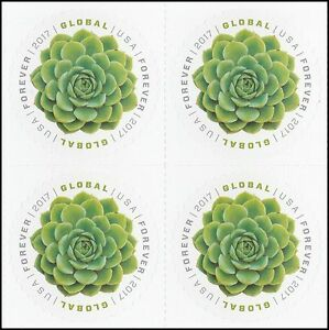 Details About Us 5198 Green Succulent Global Forever Block 4 Stamps Mnh 2017