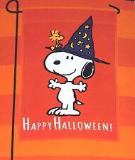 Peanuts Happy Halloween! Snoopy Wizard Witch & Woodstock Garden Flag 12 x 18