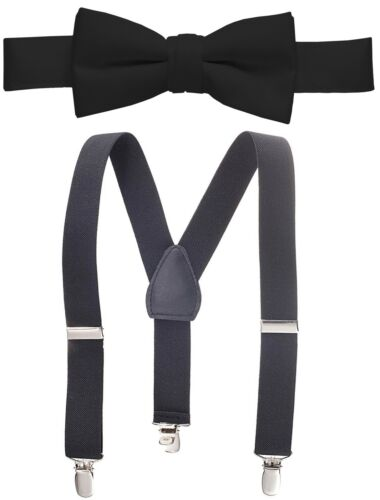 Boys Suspender /& Bow Tie Set for Kids and Baby Sturdy Polished Silver Clips,