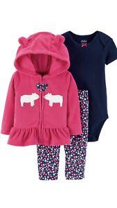 336373b5c NWT BABY GIRL CARTERS 3 Pc SET HOODIE SNAP TOP LEGGINGS 6 9 Mos NEW ...