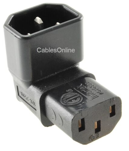 PC-P52 Right-Angle Down IEC 320 C14 Male to IEC 320 C13 Female Power Adapter