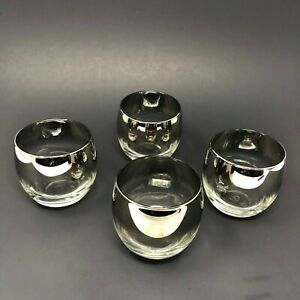 Set-of-4-Vintage-Dorothy-Thorpe-Style-MCM-Silver-Fade-Roly-Poly-Bar-Glasses