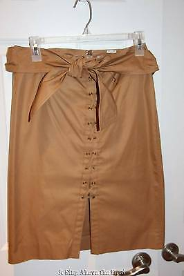 Yves Saint Laurent Tan Lace Up Skirt with Tie Size:42- Excellent Condition